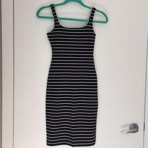 Dresses & Skirts - Black and white striped midi dress